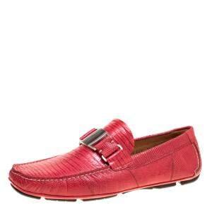 حذاء لوفرز سالفاتوري فيراغامو سارديغنا جلد برتقالي محمر مقاس 41.5