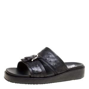 Salvatore Ferragamo Black Ostrich Leather Flat Sandals Size 41.5