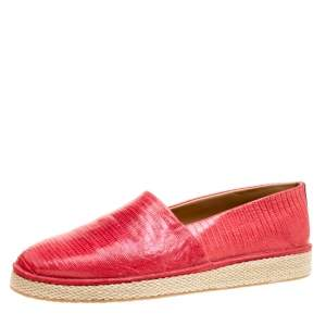 Salvatore Ferragamo Red Lizard Leather Lampedusa Espadrilles Size 44.5