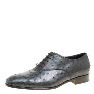 Salvatore Ferragamo Graphite Grey Ostrich Leather Gris Oxfords Size 41