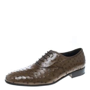 Salvatore Ferragamo Light Brown Ostrich Leather Gris Oxfords Size 44.5