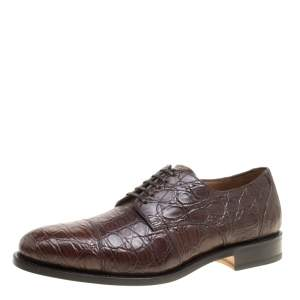 Salvatore Ferragamo Mocca Crocodile Leather Nordland Derby Size 44