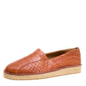 حذاء إسبادريل سالافتوري فيراغامو لامبدوسا جلد تمساح بني فاتح مقاس 44.5