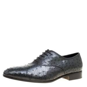 Salvatore Ferragamo Slate Grey Ostrich Leather Gris Oxfords Size 44.5