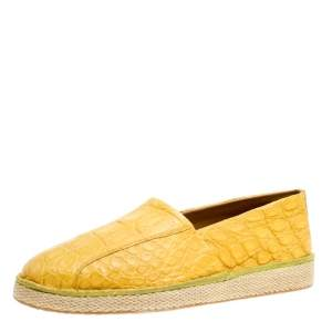 Salvatore Ferragamo Yellow Crocodile Leather Lampedusa Espadrilles Size 44.5