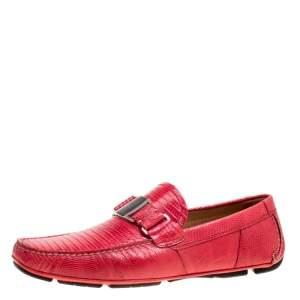 Salvatore Ferragamo Coral Red Lizard Sardegna Loafers Size 43