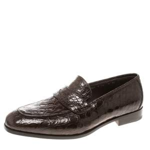 Salvatore Ferragamo Mocca Crocodile Leather Pablo Penny Loafers Size 43