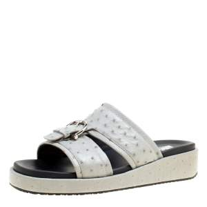 Salvatore Ferragamo Grey Ostrich Leather Lutfi Platform Slides Size 40.5