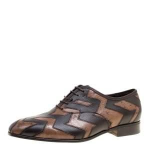 Salvatore Ferragamo Two Tone Brown Ostrich and Calf Leather Gris Oxfords Size 41
