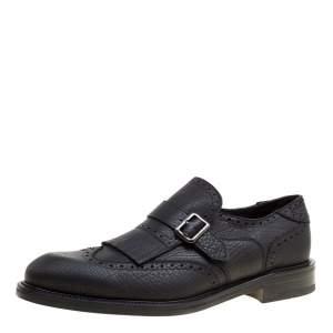 Salvatore Ferragamo Black Brogue Leather Genesis Fringe Detail Wingtip Oxford Size 43.5