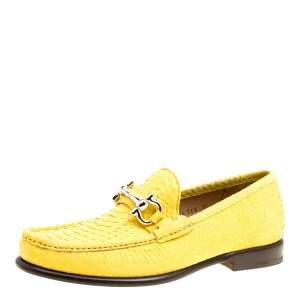 Salvatore Ferragamo Yellow Python Mason Loafers Size 41
