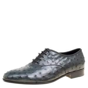 Salvatore Ferragamo Slate Grey Ostrich Leather Gris Oxfords Size 41.5