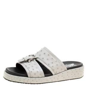 Salvatore Ferragamo Grey Ostrich Leather Lutfi Platform Slides Size 41