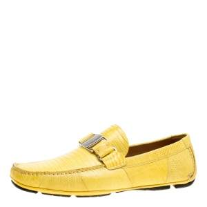 Salvatore Ferragamo Yellow Lizard Sardegna Loafers Size 41