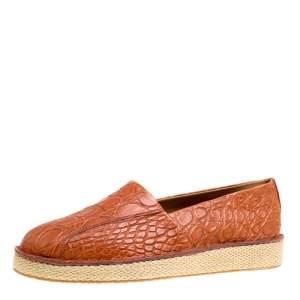حذاء إسبادريلز سالفاتوري فيراغامو لامبدوسا جلد تمساح أزرق مقاس 43.5