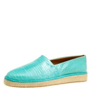 Salvatore Ferragamo Aqua Green Lizard Leather Lampedusa Espadrilles Size 44.5