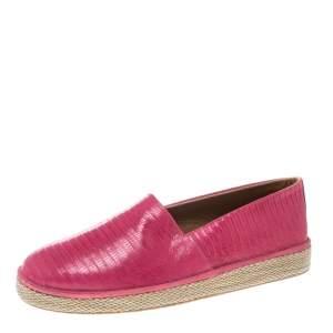 حذاء إسبادريلز سالفاتوري فيراغامو لامبدوسا جلد سحلية وردية مقاس 44