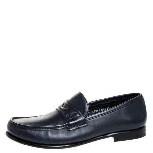 Salvatore Ferragamo Blue Leather Penny Slip On Loafers Size 45