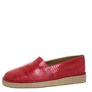 Salvatore Ferragamo Red Lizard Lampedusa Slip-On Sneakers Size 43