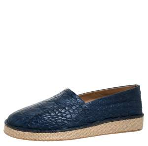 Salvatore Ferragamo Blue Crocodile Leather Lampedusa Espadrilles Size 43.5