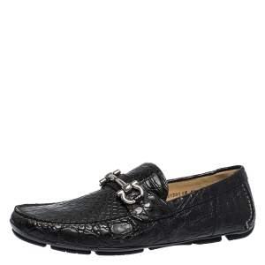 Salvatore Ferragamo Black Croc Leather Parigi Loafers Size 44.5