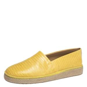 Salvatore Ferragamo Yellow Lizard Leather Lampedusa Slip-On Espadrille Sneakers Size 42