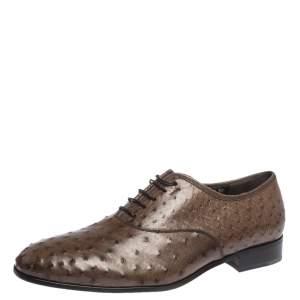 Salvatore Ferragamo Brown Ostrich Leather Gris Oxfords Size 43.5