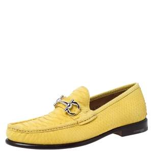 Salvatore Ferragamo Yellow Python Mason Horsebit Slip On Loafers Size 42