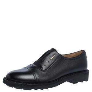 Salvatore Ferragamo Black Leather Laceless Oxford Shoes Size 42