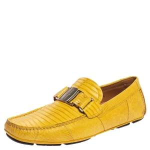 Salvatore Ferragamo Yellow Lizard Leather Sardegna Slip On Loafers Size 41.5