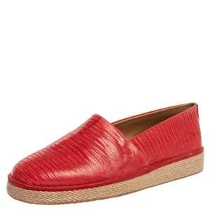 Salvatore Ferragamo Red Lizard Leather Lampedusa Espadrilles Loafers Size 43.5