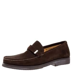 Salvatore Ferragamo Brown Suede Loafers Size 43.5
