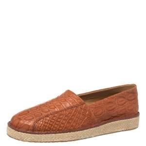 Salvatore Ferragamo Cognac Crocodile Leather Lampedusa Espadrilles Size 44