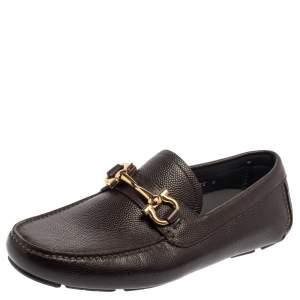 Salvatore Ferragamo Brown Leather Parigi Gancini Slip On Loafers Size 40