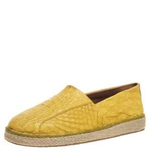 حذاء إسبارديل سالفاتوري فيراغامو لامبيدوسا جلد تمساح أصفر مقاس 44