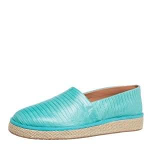 حذاء إسبادريلز سالفاتورى فيراغامو لامبيدوسا جلد سحلية أخضر أكوا مقاس 42