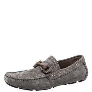 حذاء لوفر سالفاتورى فيراغامو درايفينغ مرصع باريغى سويدى رمادى مقاس 40
