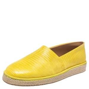 Salvatore Ferragamo Yellow Lizard Leather Lampedusa Slip On Espadrilles Size 44.5