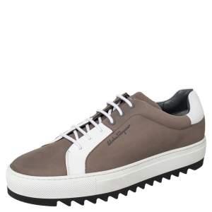 Salvatore Ferragamo Brown/White Leather And Nubuck Sneakers Size 45