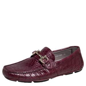 Salvatore Ferragamo Burgundy Croc Leather Parigi Bit Loafers Size 42.5
