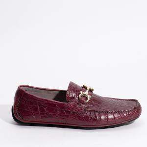 Salvatore Ferragamo Red Leather Parigi Crocodile Skin Loafers Size EU 45