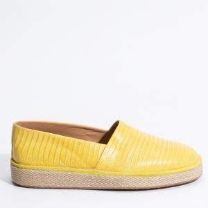 Salvatore Ferragamo Yellow Leather Lampedusa Solid Espadrilles Size EU 41.5