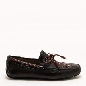 Salvatore Ferragamo Black Leather Driver Tassel Calf Loafers Size EU 42