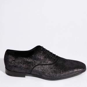 Salvatore Ferragamo Black Textile Belshaw 2 Metallic Derby Size EU 43