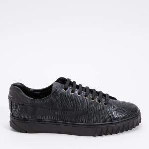 Salvatore Ferragamo Black Leather Cube Sneakers Size EU 42