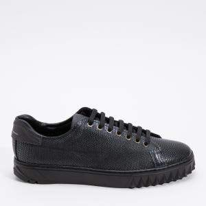 Salvatore Ferragamo Black Leather Cube Sneakers Size EU 43