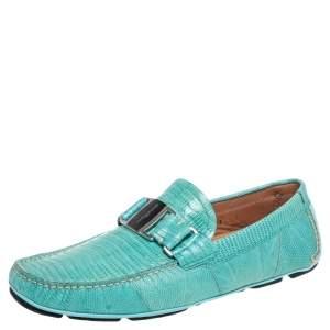 Salvatore Ferragamo Aqua Green Lizard Leather Sardegna Loafers Size 41