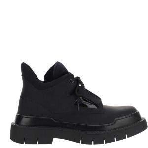 Salvatore Ferragamo Black technical fabric and calf leather Ankle boots Size EU 40 US 7