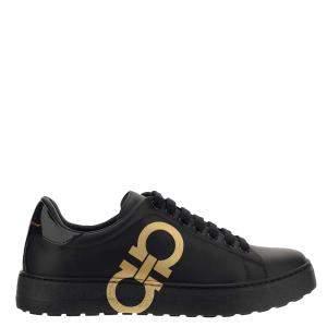 Salvatore Ferragamo Black/Gold Leather Gancini Sneakers Size EU 40 US 7