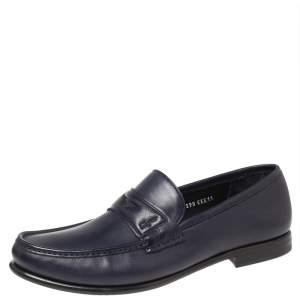 Salvatore Ferragamo Blue Leather Connor Penny Loafers Size 45
